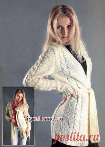 Cozy white cardigan (Knitting by spokes) | Inspiration of the Needlewoman Magazine