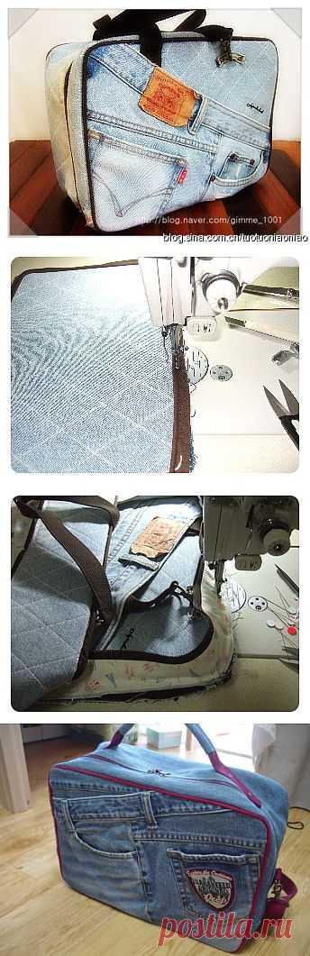 Сумка-чемодан из старых джинсов.