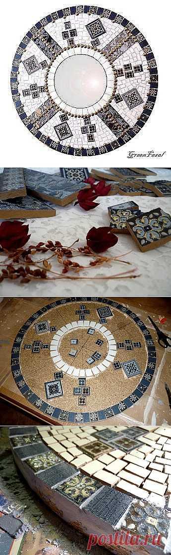 Зеркало из керамической плитки - Мозаика
