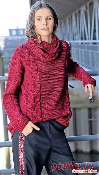 Модные тенденции. Пуловер винно-красного цвета с