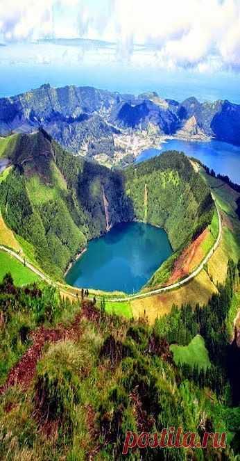 Vista aérea de la Isla de Azores Islands, Portugal.