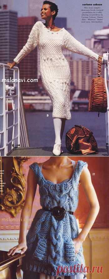 Большая подборка вязаных платьев. Идеи....