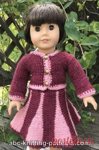 Костюм куклы американской девушки с юбкой годе Бесплатный Кукольный Костюм Вязание Узор