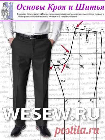 Выкройка мужских брюк построение фото 245