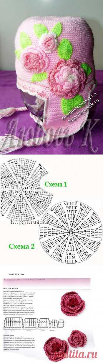 Весенняя шапочка для девочки 3-5 лет - вязание крючком на kru4ok.ru