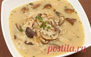 Как приготовить суп из свежих белых грибов с рисом