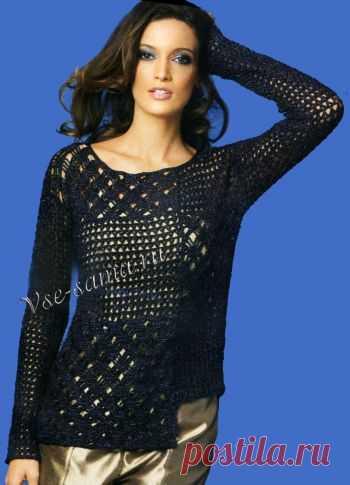 Ажурный пуловер с легким блеском