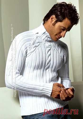 Мужской пуловер с аранами ... вяжем спицами.