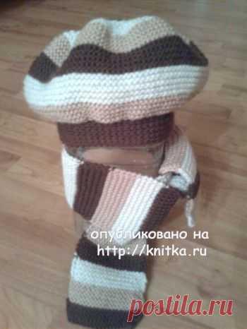 Берет и шарф связанные спицами, Вязание для женщин