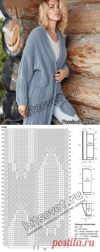 Модный женский кардиган 2017 - запись пользователя Лисик (Светлана) в сообществе Вязание спицами в категории Вязание для женщин спицами. Схемы вязания спицами