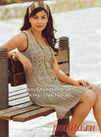 Вязаное спицами летнее платье из экопряжи, Вязание для женщин