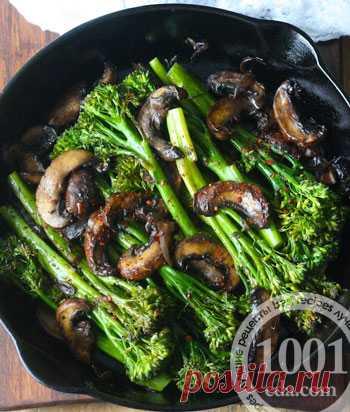 Рецепт брокколини с грибами на ужин - Быстрый обед и ужин от 1001 ЕДА