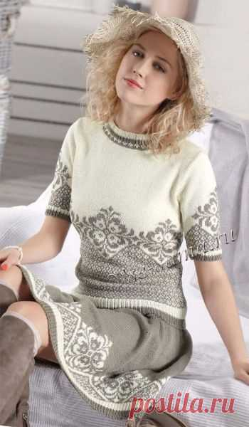 Pullover with a short sleeve and a skirt