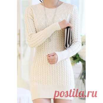 Long Sleeves Solid Color Sweater Stylish Dress For Women pink black blue white (Long Sleeves Solid Color Sweater Stylish Dress For Wo) by www.irockbags.com