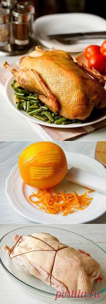 Запеченная утка с апельсиново-коньячным ароматом.  Рецепт очень вкусной запеченной целиком утки. В целом все несложно, особенно если вы уже раньше имели дело с этой птицей.