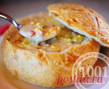Рецепт кукурузного супа в хлебе