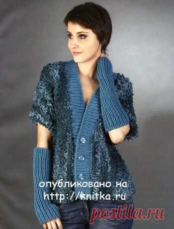 Вязаный спицами жакет и митенки, Вязание для женщин