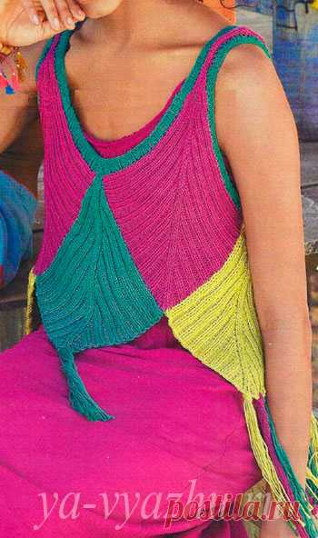 Необычный летний топ спицами из ромбов разных цветов   Вязальное настроение...