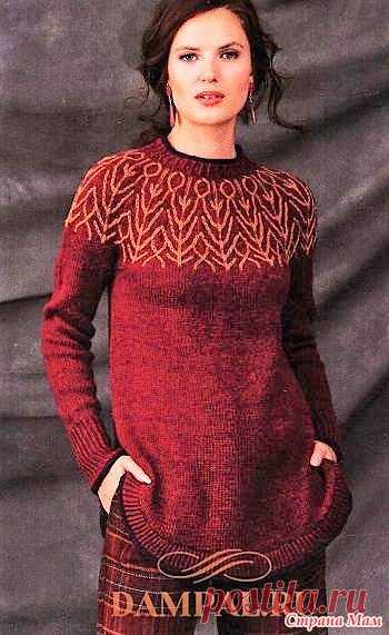 Пуловер с двухцветной круглой кокеткой. Спицы. - ВЯЗАНАЯ МОДА+ ДЛЯ НЕМОДЕЛЬНЫХ ДАМ - Страна Мам