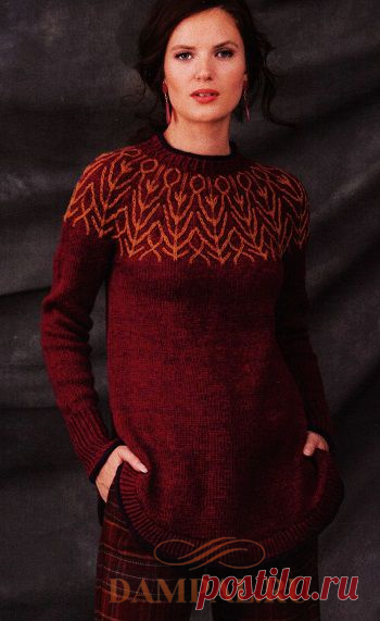 Пуловер с двухцветной кокеткой | DAMские PALьчики. ru