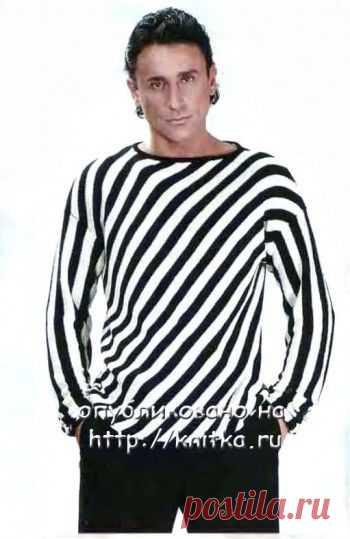 Черно-белый джемпер в полоску,  Вязание для мужчин Размер джемпера: 48/50. Вам потребуется: 350 г черной, 300 г белой пряжи «Luxury» фирмы «Filatura di Crosa» (100% Silk-Seide, 145 м/50 г); круговые спицы