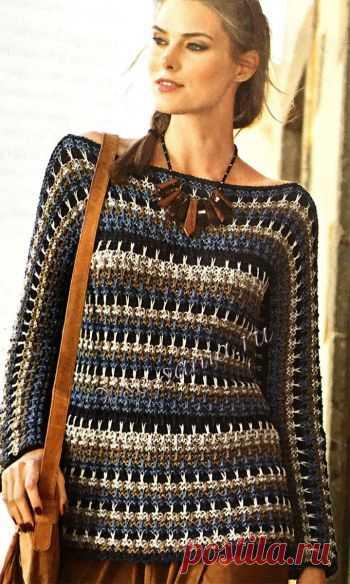 Пуловер в полоску с цельновязаными рукавами - Пуловеры, свитера