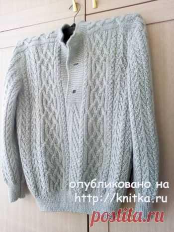 Мужской свитер спицами с аранами. Работа Татьяны Ивановны,  Вязание для мужчин Мужской свитер, связан на заказ. Работа над ним была большущим удовольствием, подготовка долгой, никак не могла определить какие араны будут смотреться
