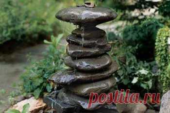 Самодельный фонтан в виде колонны их камней | Своими руками