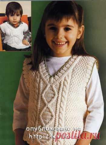 Жилет для мальчика и для девочки, Вязание для детей