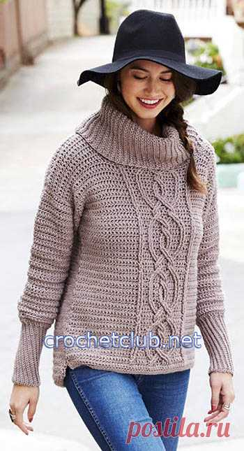 свитер с аранами крючком вязание крючком блог настика стильное
