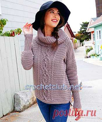 свитер с аранами крючком вязание крючком блог настика вязание