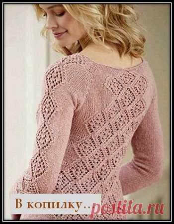 красивейшие узоры спицами для свитеров и пуловеров 2 ажурный узор