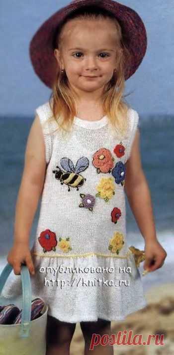 Белое платье для девочки, Вязание для детей