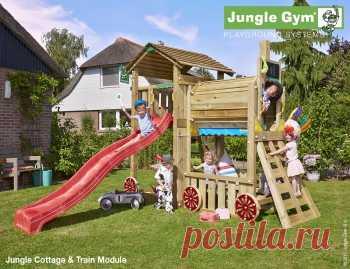 Игровой городок Jungle Gum Cottage + Train Module, описание, фото, цены
