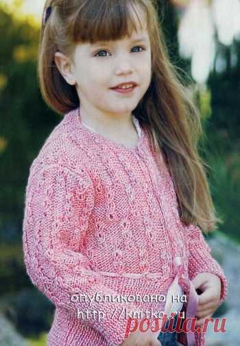 Розовый жакет для девочки спицами, Вязание для детей