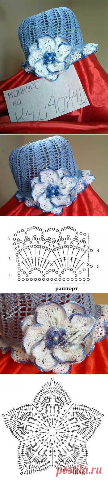 Шляпка «Нежный цветок» - вязание крючком на kru4ok.ru