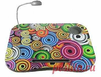Столик для ноутбука «Цветные спирали» с подсветкой, углублениями для стаканы и ручки, подушкой для удобного размещения на коленях.  678,00 р.