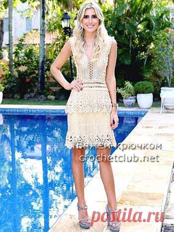 платье крючком от Alzira Vieira вязание крючком блог настика