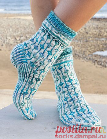 Вязаные носки «Diamond Seas» | ВЯЗАНЫЕ НОСКИ