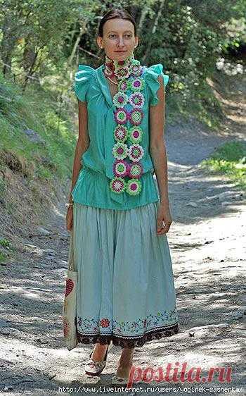 @ Вязание крючком – шарф из цветочных мотивов со схемой   МОЙ МИЛЫЙ ДОМ – идеи рукоделия, вязание, декорирование интерьеров