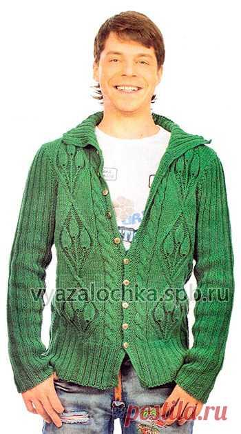 мужская кофта спицами жакет с узором из листьев елена вязалочка