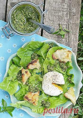 Зеленый салат с яйцом-пашот и песто (популярный соус итальянской кухни на основе оливкового масла, базилика и сыра).