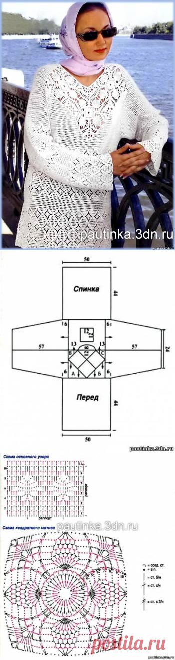 Схема вязания туники крючком - Схемы вязания туники - Схемы для вязания - Уроки вязания крючком - Вязание крючком, схемы для вязания крючком