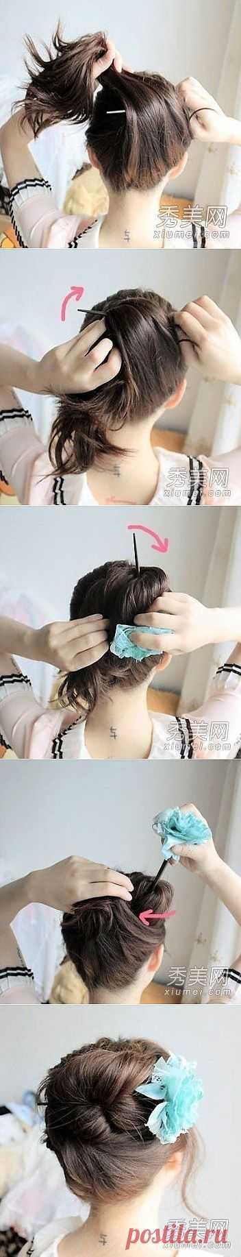 Как заколоть волосы «китайской палочкой».