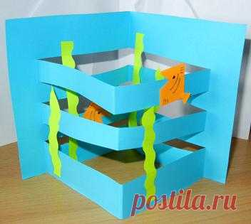 Бумажный аквариум. Поделка для детей. - Сайт ульяновских мам - Playroom.ru