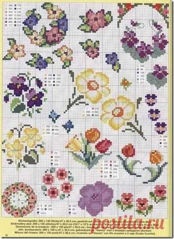 вышивание крестиком цветы схема