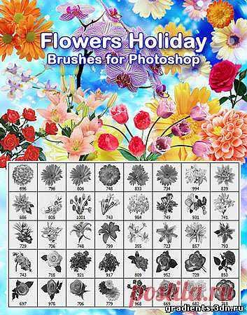 Кисти для фотошопа - Flowers holiday, скачать бесплатно Кисти для фотошопа - Flowers holiday без регистрации