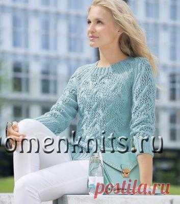 Ажурный пуловер спицами с рукавом реглан