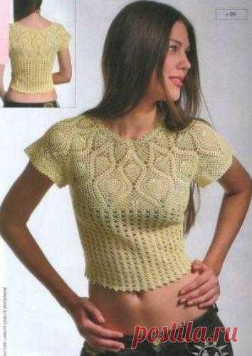 Короткая блузка крючком – Мир вязания и рукоделия Короткая блузка крючком. Эта кофточка вяжеться крючком вкруговую, для этого вам понадобиться 200г. х/б пряжи и крючком №1…