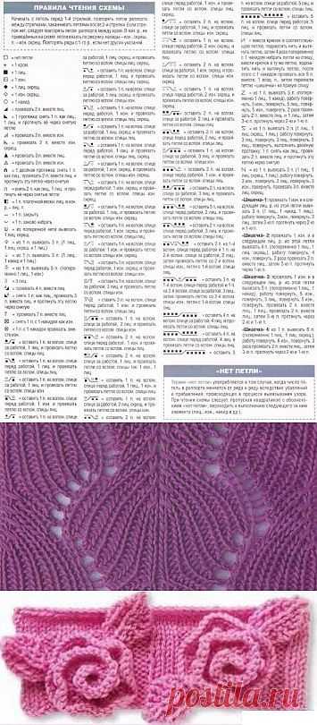 Расшифровка схем вязания спицами